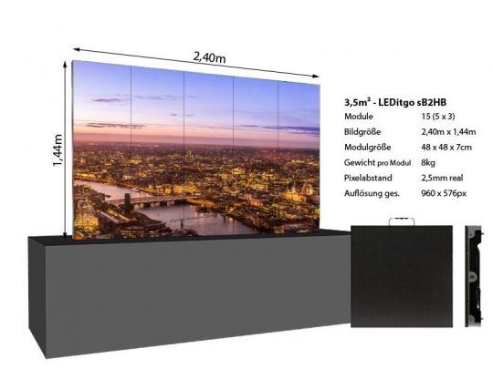LED Wand 2,4x1,44m 3,5qm - LEDitgo 2,5-details