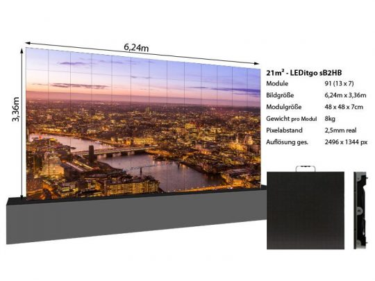 LED Wand 6,24m x 3,36m 21qm - LEDitgo 2,5 - details
