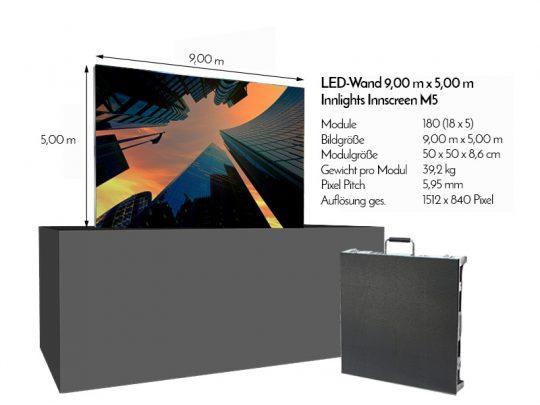 LED Wand 9,00m x 5,00m - 5.95mm Innlights InnScreen M5 mieten